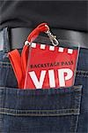 VIP Pass in Man's Back Pocket Stock Photo - Premium Rights-Managed, Artist: photo division           , Code: 700-03003665