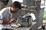 Man using Typewriter, Kolkata, West Bengal, India Stock Photo - Premium Rights-Managed, Artist: Sarah Murray             , Code: 700-03004156