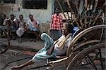 Man Resting on Rickshaw, Tilijara, Kolkata, West Bengal, India Stock Photo - Premium Rights-Managed, Artist: Sarah Murray             , Code: 700-03004190