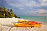 Sea Kayaks on the Beach, Rihiveli Beach Resort, Mahaanaelhihuraa, South Male Atoll, Maldives                                                                                                             Stock Photo - Premium Rights-Managed, Artist: F. Lukasseck             , Code: 700-03005284