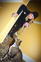 preteen girl pussy - Teen girl dressed as cat burgler Stock Photo - Premium Royalty-Freenull, Code: 673-03005692