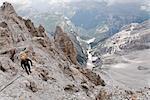 Man on Via Ferrata, Mt Cristallo, Dolomites, Italy