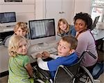 Teacher with Students at Computer Stock Photo - Premium Rights-Managed, Artist: Horst Herget             , Code: 700-03017555