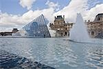 The Louvre, Fountain and Pyramid, Paris, Ile-de-France, France                                                                                                                                           Stock Photo - Premium Rights-Managed, Artist: Tomasz Rossa             , Code: 700-03018110