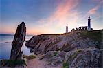 St Mathieu Lighthouse and Abbey, Pointe de St Mathieu, Finistere, Brittany, France                                                                                                                       Stock Photo - Premium Rights-Managed, Artist: F. Lukasseck             , Code: 700-03018289