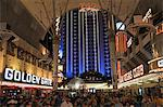 Fremont Street, the older part of Las Vegas, at night, Las Vegas, Nevada, United States of America, North America
