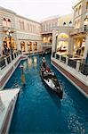 Inside the Venetian Hotel complete with gondoliers and a recreated Venice, mainly a shopping mall and restaurant area, Las Vegas, Nevada, United States of America, North America                        Stock Photo - Premium Rights-Managed, Artist: Robert Harding Images    , Code: 841-03028267