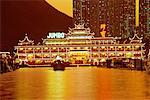 Jumbo floating restaurant illuminated at night, Aberdeen Harbour, Hong Kong, China                                                                                                                       Stock Photo - Premium Rights-Managed, Artist: Robert Harding Images    , Code: 841-03028691