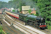 steam engine - Train on North York Moors Railway, Goathland, North Yorkshire, England, United Kingdom, Europe                                                                                                           Stock Photo - Premium Rights-Managednull, Code: 841-03029978