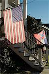 U.S. National and Mississippi State flags, Natchez, Mississippi, United States of America, North America