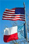 American and Texan flags, Texas, United States of America, North America