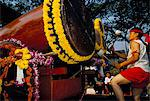 Young Thai man playing drums in parade, Flowers Festival, Chiang Mai, Thailand, Southeast Asia, Asia
