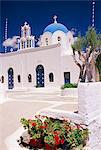 Orthodox Christian church and square, Akrotiri, Santorini (Thira), Cyclades islands, Greece, Mediterranean, Europe