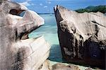 Rocks on coast, Pointe Rouge, Anse Papaie, south coast, island of Curieuse, Seychelles, Indian Ocean, Africa