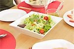 Close-up of prepared salad served plate on dining table                                                                                                                                                  Stock Photo - Premium Rights-Managed, Artist: Aflo Relax               , Code: 859-03038493