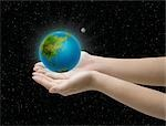 Close-up of hands holding glowing globe                                                                                                                                                                  Stock Photo - Premium Rights-Managed, Artist: Aflo Relax               , Code: 859-03038778