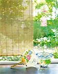 Paper Fan And Goldfish Bowl By Veranda                                                                                                                                                                   Stock Photo - Premium Rights-Managed, Artist: Aflo Relax               , Code: 859-03041198