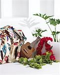 Ukulele And Lei On A White Sofa                                                                                                                                                                          Stock Photo - Premium Rights-Managed, Artist: Aflo Relax               , Code: 859-03041453