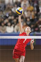 spike - Volleyball Players in Intense Moment                                                                                                                                                                     Stock Photo - Premium Rights-Managednull, Code: 858-03046887