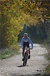 Mountain biker racing on a trail                                                                                                                                                                         Stock Photo - Premium Rights-Managed, Artist: Aflo Sport               , Code: 858-03048319