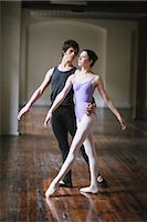 Teenager ballet dancers practicing together in a room                                                                                                                                                    Stock Photo - Premium Rights-Managednull, Code: 858-03049461