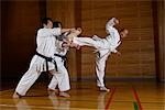 Three karate practitioners training                                                                                                                                                                      Stock Photo - Premium Rights-Managed, Artist: Aflo Sport               , Code: 858-03049819
