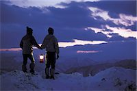 panoramic winter scene - Two People Looking at Mountain Range                                                                                                                                                                     Stock Photo - Premium Rights-Managednull, Code: 858-03051927