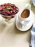Cranberry Sauce With Lime Zest, Gravy in a Gravy Boat                                                                                                                                                    Stock Photo - Premium Rights-Managed, Artist: Yvonne Duivenvoorden     , Code: 700-03053793