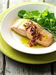 Salmon With Edible Flower Sauce and Side Greens                                                                                                                                                          Stock Photo - Premium Rights-Managed, Artist: Yvonne Duivenvoorden     , Code: 700-03053811