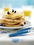 Whole Wheat Pancakes With Oats and Blueberries                                                                                                                                                           Stock Photo - Premium Rights-Managed, Artist: Yvonne Duivenvoorden     , Code: 700-03053821