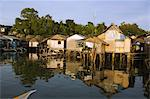 Waterfront stilt houses, Puerto Princesa, Palawan, Philippines, Southeast Asia, Asia