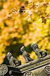 Autumn colours and ornamental Chinese style decorative figures on a pavilion in Ritan Park, Beijing, China, Asia                                                                                         Stock Photo - Premium Rights-Managed, Artist: Robert Harding Images    , Code: 841-03055757