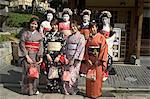 Girls wearing yukata - kimono, geisha, maiko (trainee geisha) in Gion, Kyoto city, Honshu, Japan, Asia                                                                                                   Stock Photo - Premium Rights-Managed, Artist: Robert Harding Images    , Code: 841-03056237