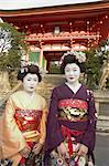 Geisha maiko at Kiyomizu dera temple, UNESCO World Heritage site, Kyoto city, Honshu, Japan, Asia                                                                                                        Stock Photo - Premium Rights-Managed, Artist: Robert Harding Images    , Code: 841-03056259