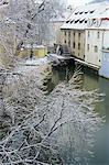 Snow-covered Certovka Canal and water wheel at Kampa Island, Mala Strana suburb, Prague, Czech Republic, Europe                                                                                          Stock Photo - Premium Rights-Managed, Artist: Robert Harding Images    , Code: 841-03056918