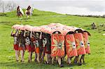 Ermine Street Guard advancing with protective shields, cavalry in attendance, Birdoswald Roman Fort, Hadrians Wall, Northumbria, England, United Kingdom, Europe                                         Stock Photo - Premium Rights-Managed, Artist: Robert Harding Images    , Code: 841-03061210