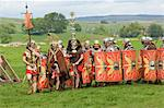 Roman soldiers of the Ermine Street Guard, marching in column led by Standard Bearers and Trumpeter, Birdoswald Roman Fort, Hadrians Wall, Northumbria, England, United Kingdom, Euruope                 Stock Photo - Premium Rights-Managed, Artist: Robert Harding Images    , Code: 841-03061211