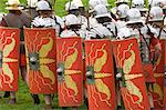 Roman soldiers of the Ermine Street Guard on the march, armour and shield detail, Birdoswald Roman Fort, Hadrians Wall, Northumbria, England, United Kingdom, Europe                                     Stock Photo - Premium Rights-Managed, Artist: Robert Harding Images    , Code: 841-03061217