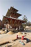 Piles of grain in front of the triple roofed pagoda of the Rato Machendranath temple, Patan, Kathmandu, Nepal, Asia                                                                                      Stock Photo - Premium Rights-Managed, Artist: Robert Harding Images    , Code: 841-03062285