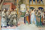 Frescoes in cloister by High Renaissance painter Il Sodoma (Giovanni Antonio Bazzi) painted between 1505 and 1508, of the life of St. Benedict (San Benedetto) showing him driving off bad women brought in by Florent. Chiusure, Monte Oliveto Maggiore Abbey, Tuscany, Italy, Europe Stock Photo - Premium Rights-Managed, Artist: Robert Harding Images    , Code: 841-03064508