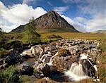 Waterfall on River Coupall, Buachaille Etive Mor in background, Glen Etive, near Glencoe, Highland region, Scotland, United Kingdom, Europe                                                              Stock Photo - Premium Rights-Managed, Artist: Robert Harding Images    , Code: 841-03064788