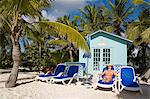 Beach cabana and woman, Princess Cays, Eleuthera Island, Bahamas, West Indies, Central America                                                                                                           Stock Photo - Premium Rights-Managed, Artist: Robert Harding Images    , Code: 841-03065944