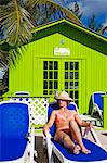 Beach cabana and woman, Princess Cays, Eleuthera Island, Bahamas, West Indies, Central America                                                                                                           Stock Photo - Premium Rights-Managed, Artist: Robert Harding Images    , Code: 841-03065948