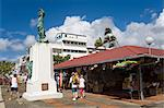 Belain d'Esnambuc Statue, Craft Market in La Savane Park, Fort-de-France, Martinique, French Antilles, West Indies, Caribbean, Central America                                                           Stock Photo - Premium Rights-Managed, Artist: robertharding, Code: 841-03066044
