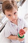 Portrait of a boy holding an ice cream                                                                                                                                                                   Stock Photo - Premium Rights-Managed, Artist: Glowimages               , Code: 837-03069601