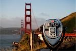 Coin-operated binoculars with a bridge in the background,Golden Gate Bridge,San Francisco Bay,San Francisco,California,USA                                                                               Stock Photo - Premium Rights-Managed, Artist: Glowimages               , Code: 837-03069711