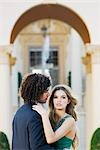Side profile of a couple romancing,Coral Gables,Florida,USA                                                                                                                                              Stock Photo - Premium Rights-Managed, Artist: Glowimages               , Code: 837-03070179
