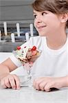 Close-up of a girl with ice cream                                                                                                                                                                        Stock Photo - Premium Rights-Managed, Artist: Glowimages               , Code: 837-03070219