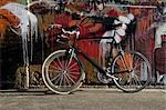 Sports bicycle leaning against a wall                                                                                                                                                                    Stock Photo - Premium Rights-Managed, Artist: Glowimages               , Code: 837-03071423