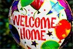 Close-up of a Welcome sign on a balloon                                                                                                                                                                  Stock Photo - Premium Rights-Managed, Artist: Glowimages               , Code: 837-03072369